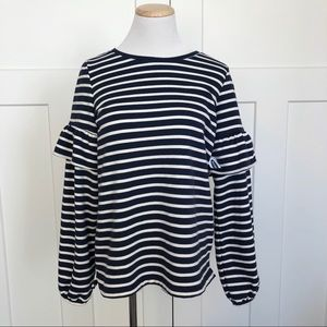 NEW Old Navy Striped Ruffle Sleeve Knit Top Shirt